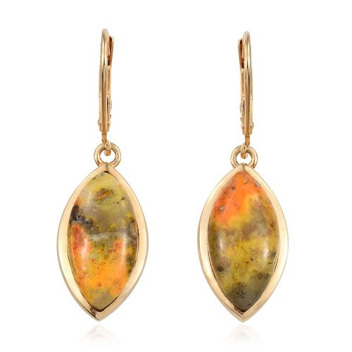 Bumble Bee Jasper (Mrq) Lever Back Earrings in 14K Gold Overlay Sterling Silver 12.000 Ct.