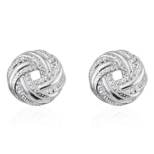 Platinum Overlay Sterling Silver Stud Earrings (with Push Back), Silver wt 4.20 Gms.