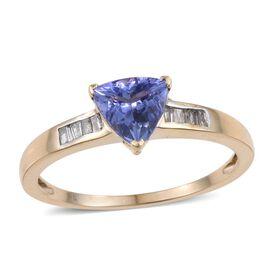 9K Y Gold AA Tanzanite (Trl 1.25 Ct), Diamond (I3/G-H) Ring 1.400 Ct.