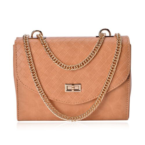 Diamond Pattern Italian Tan Colour Handbag with Chain Strap (Size 22.5x17x8.5 Cm)