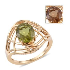 Alexite (Ovl) Solitaire Ring in 14K Gold Overlay Sterling Silver 3.250 Ct.