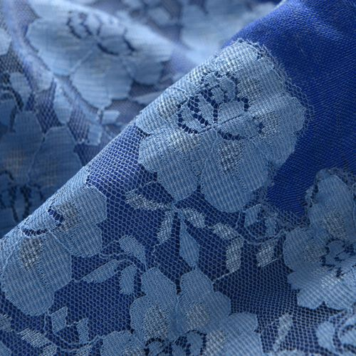 Hand Knitted - (50% Mulberry Silk and 50% Merino Wool) Dark and Light Blue Colour Scarf with Floral Lace Border (Size 170x75 Cm)