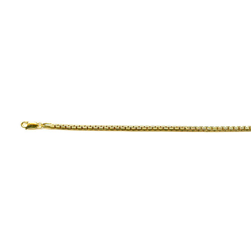 Vicenza Collection 14K Gold Overlay Sterling Silver Box Chain (Size 24), Silver wt 47.67 Gms.