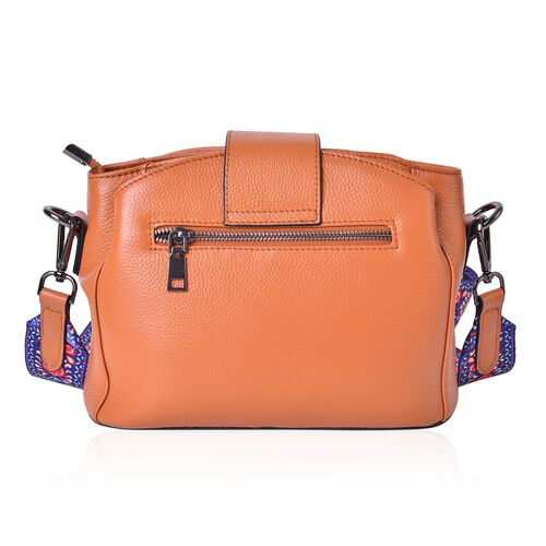 100% Genuine Leather Tan Colour Shoulder Bag with Buckle Lock and Colourful Removable Shoulder Strap (Size 25.5X19X12 Cm)