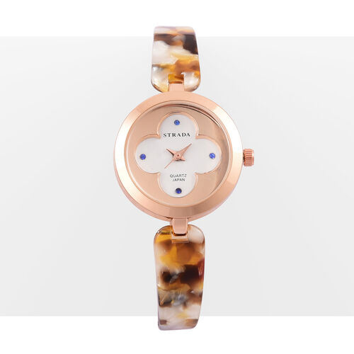 Designer Inspired-STRADA Japanese Movement Blue Austrian Crystal Studded White Dial Watch in Rose Gold Tone with Stainless Steel Back and Amber Colour Strap