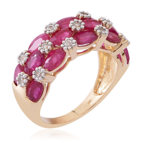 9K Y Gold AAA Burmese Ruby (Ovl), White Zircon Ring 4.000 Ct.