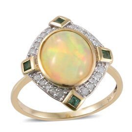 9K Y Gold AAA Ethiopian Welo Opal (Ovl 3.15 Ct), Kagem Zambian Emerald and Diamond (I3/G-H) Ring 3.500 Ct.
