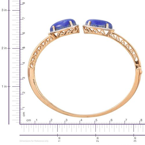 Lapis Lazuli (Pear), Diamond Bangle (Size 7.5) in 14K Gold Overlay Sterling Silver 20.550 Ct., Silver weight 20.97