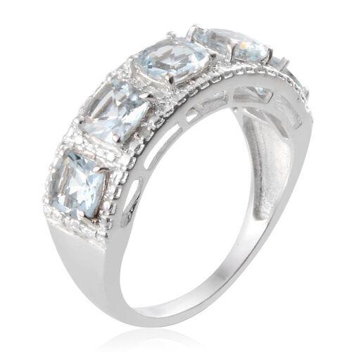Espirito Santo Aquamarine (Cush), Diamond Ring in Platinum Overlay Sterling Silver 2.270 Ct.
