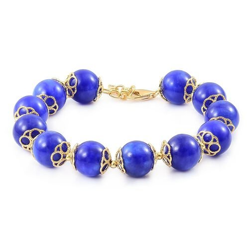 Limited Edition - AAA Blue Jade Ball Beads Bracelet (Size 8 with 1 inch Extender) in Yellow Gold Overlay Sterling Silver 179.500 Ct. Silver wt 5.88 Gms.
