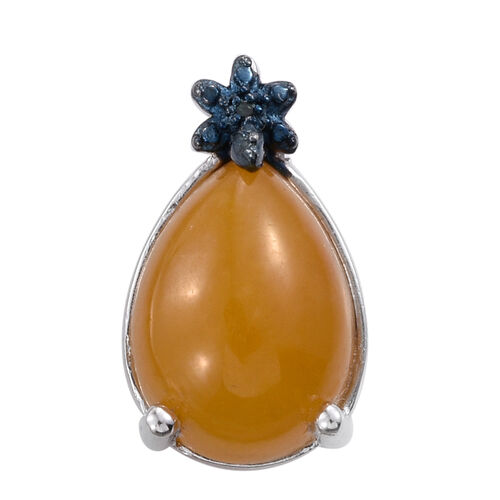 Yellow Jade (Pear), Blue Diamond Pendant in Sterling Silver 6.250 Ct.