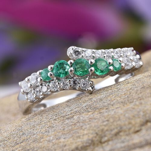 AA Boyaca Colombian Emerald (Rnd), Natural Cambodian Zircon Ring in Platinum Overlay Sterling Silver 0.750 Ct.