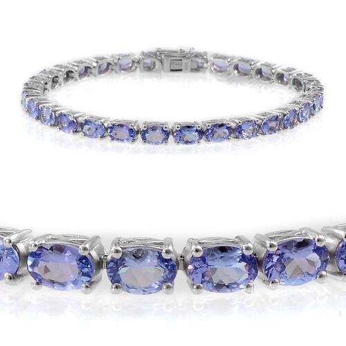 Tanzanite (Ovl) Bracelet in Platinum Overlay Sterling Silver (Size 8) 15.000 Ct.