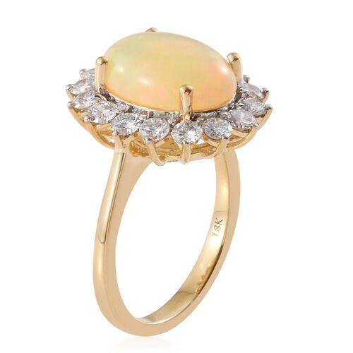 Signature Collection-ILIANA 18K Yellow Gold AAAA Ethiopian Welo Opal (Ovl 3.25 Ct), Diamond (SI/G-H) Ring 4.250 Ct. Gold Wt 6.25 Gms