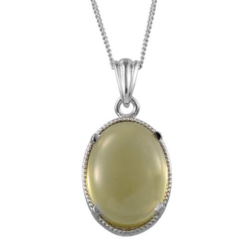 Natural Ouro Verde Quartz (Ovl) Solitaire Pendant With Chain in Platinum Overlay Sterling Silver 8.500 Ct.