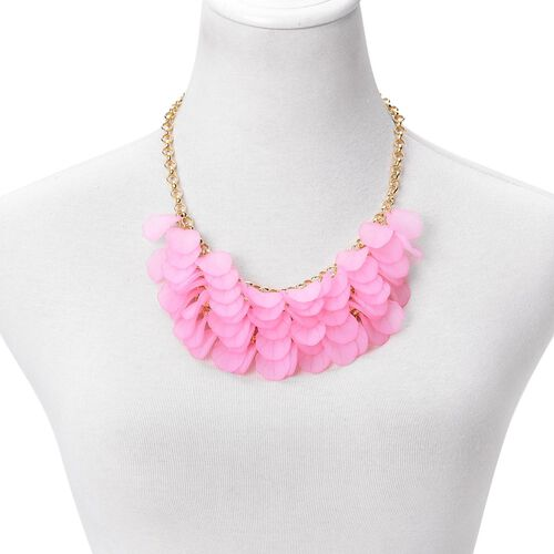Pink Colour Flower Petals Necklace (Size 20 with 2.5 inch Extender) in Yellow Gold Tone