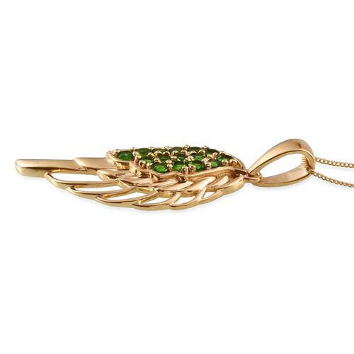 Russian Diopside (Rnd) Pendant With Chain in 14K Gold Overlay Sterling Silver 1.500 Ct.
