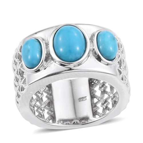 Arizona Sleeping Beauty Turquoise (Ovl 1.15 Ct) 3 Stone Ring in Platinum Overlay Sterling Silver 2.000 Ct.