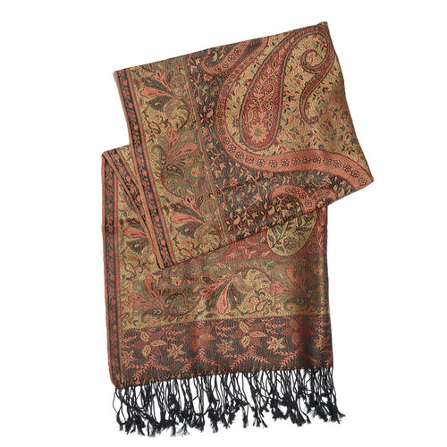 Silk Mark - 100% Super Fine Silk Bombay Brown, Red and Multi Colour Floral and Paisley Pattern Jacquard Jamawar Scarf with Fringes (Size 180x70 Cm) (Weight 125 - 140 Gms)