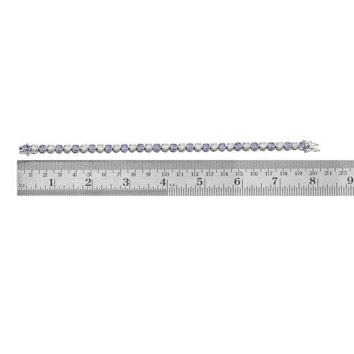 Tanzanite (Rnd), White Topaz Tennis Bracelet (Size 7.5) in Platinum Overlay Sterling Silver 12.500 Ct.