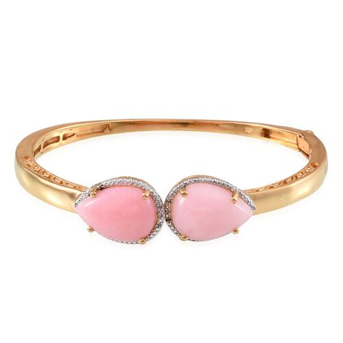 Peruvian Pink Opal (Pear), Diamond Bangle (Size 7.5) in 14K Gold Overlay Sterling Silver 16.030 Ct.