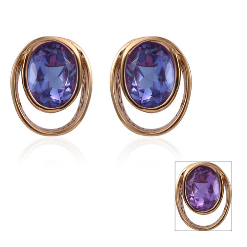 Lavender Alexite (Ovl) Earrings (with Push Back) in 14K Gold Overlay Sterling Silver 2.500 Ct.