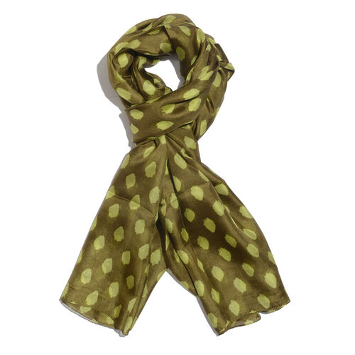 100% Mulberry Silk Olive Green and Lemon Colour Handscreen Printed Scarf (Size 180x100 Cm)