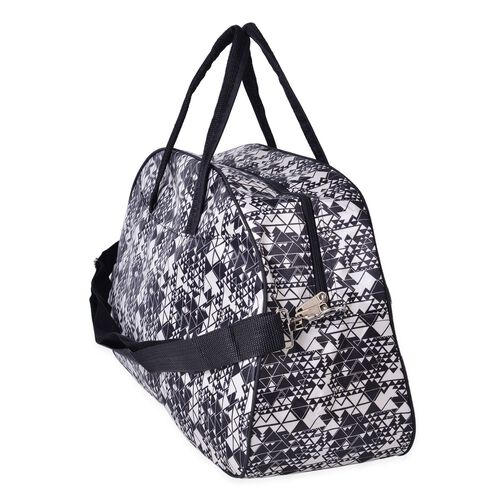 Black and White Colour Geometric Pattern Tote Bag with Adjustable Shoulder Strap (Size 50X31X18 Cm)