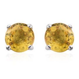 ILIANA 18K White Gold 1.25 Carat AAA Chanthaburi Yellow Sapphire Solitaire Stud Earrings (with Screw Back)