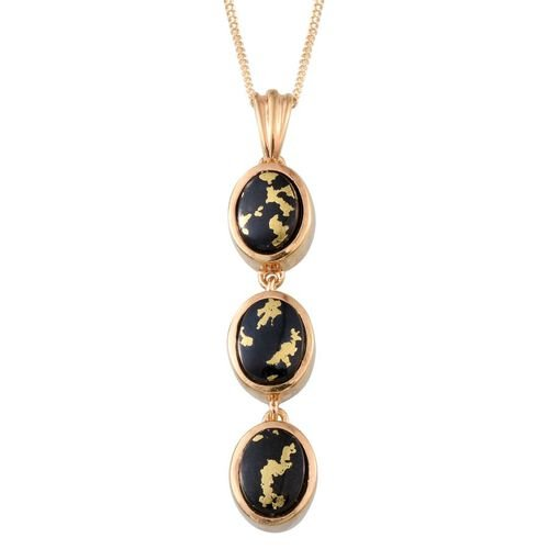 Goldenite (Ovl) Trilogy Pendant With Chain in 14K Gold Overlay Sterling Silver 3.000 Ct.