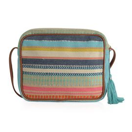 Red, Green, White and Multi Colour Stripe Pattern Crossbody Bag (Size 28x22x4.5 Cm)
