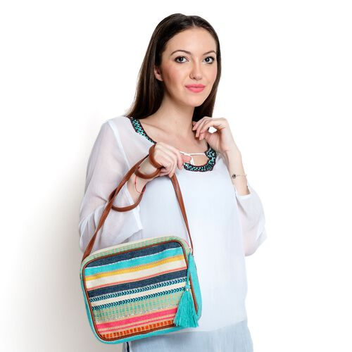 Red, Green and Multi Colour Stripe Pattern Crossbody Bag (Size 28x22x4.5 Cm)