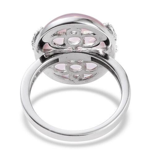 GP Rose Quartz (Ovl 15.10 Ct), Natural Cambodian Zircon and Kanchanaburi Blue Sapphire Ring in Platinum Overlay Sterling Silver 15.250 Ct.