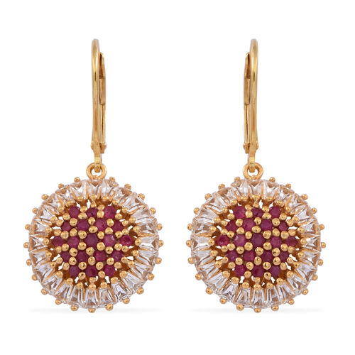 Burmese Ruby (Rnd), White Topaz Lever Back Earrings in 14K Gold Overlay Sterling Silver 4.500 Ct.