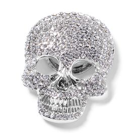 Close Out Deal -AAA  Austrian White Crystal (Rnd) Skull Brooch in Silver Plated
