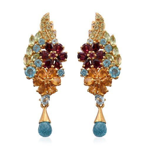 GP Paraiba Apatite, Rhodolite Garnet, Citrine, Hebei Peridot, White Topaz, Kanchanaburi Blue Sapphire and Multi Gem Stone Floral Earrings(with Push Back) in 14K Gold Overlay Sterling Silver 12.250 Ct.