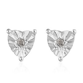 OTO - Diamond (Rnd) Heart Stud Earrings in Platinum Overlay Sterling Silver