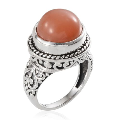 Jewels of India Mitiyagoda Peach Moonstone (Rnd) Solitaire Ring in Sterling Silver 7.470 Ct.