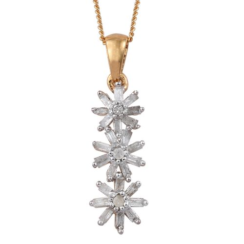 Designer Inspired- Fireworks Diamond Floral Pendant with Chain (Size 18) in 14K Gold Overlay Sterling Silver 0.300 Ct.
