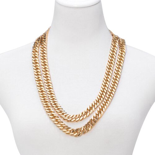 Designer Inspired Curb Necklace (Size 56) in ION Plated Yellow Gold Stainless Steel