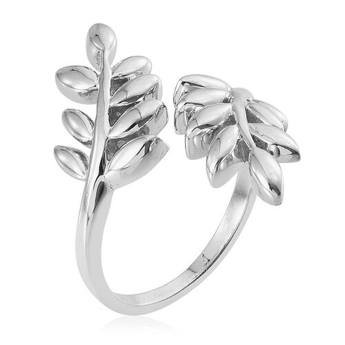 Platinum Overlay Sterling Silver Olive Leaves Crossover Ring, Silver wt 4.50 Gms.