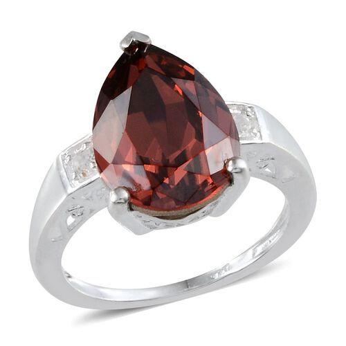 Made With Swarovski Crystal - Padparadscha Crystal (Pear 6.00 Ct), White Topaz Ring in Sterling Silver 6.100 Ct.