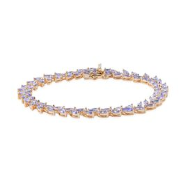 AA Tanzanite (Mrq) Bracelet (Size 7.5) in 14K Gold Overlay Sterling Silver 9.000 Ct.