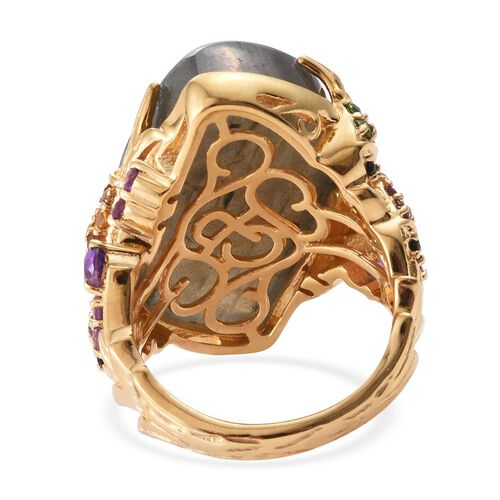 GP Labradorite, Amethyst, Madeira Citrine, Rhodolite Garnet, Russian Diopside and Multi Gem Stone Ring in 14K Gold Overlay Sterling Silver 37.210 Ct.