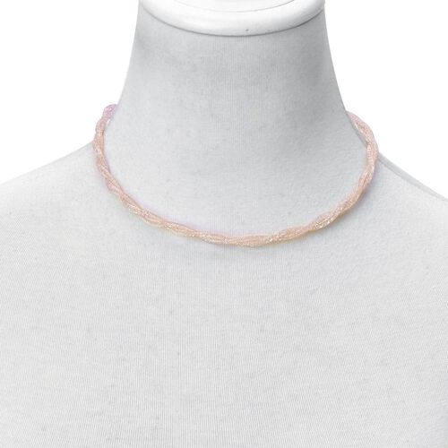 White Austrian Crystal Necklace (Size 16 with 2 inch Extender) and Bracelet (Size 7 with 2 inch Extender) in Rose Gold Tone