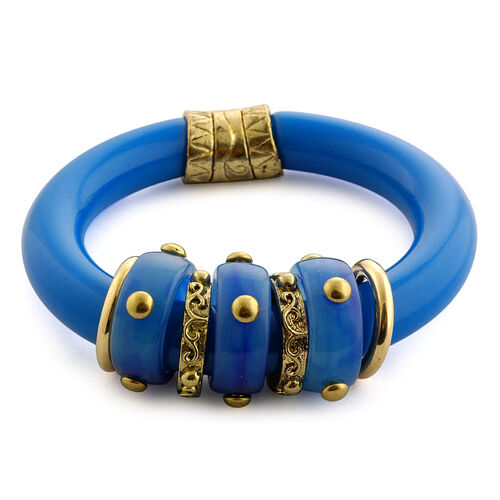 Blue Resin Bangle in Goldtone (Size 7.5)