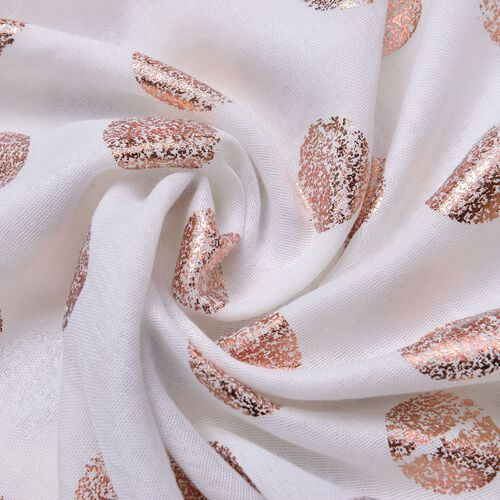 Golden Polka Dots Pattern White Colour Scarf with Fringes (Size 180X70 Cm)