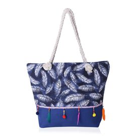 Feather Pattern Tote Bag with Multi Colour Tassels (Size 48x33x33x15.5 Cm)