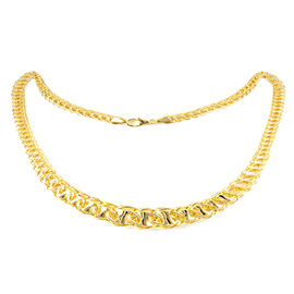 Designer Inspired-Vicenza Collection 9K Y Gold Double Curb Fancy Necklace (Size 18 with 2 inch Extender), Gold wt 14.26 Gms.