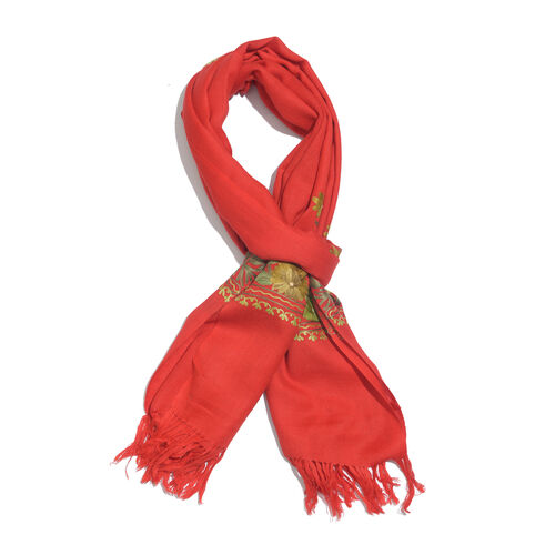 100% Merino Wool Red Shawl with Cashmere Embroidery (Size 180X70 Cm)